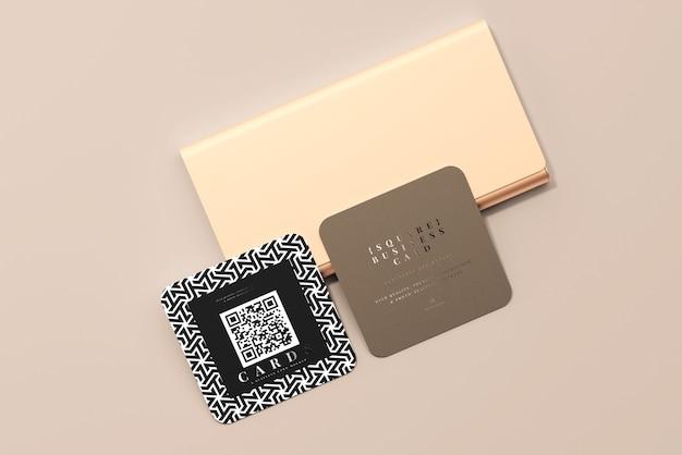 Maquete de cartões de visita quadrados com cantos arredondados