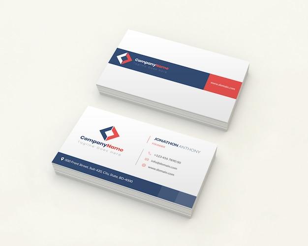 Maquete de cartões de visita sobre fundo branco