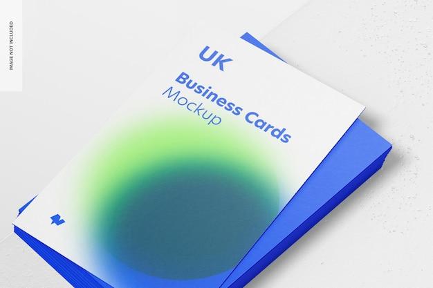 Maquete de cartões de visita verticais, close-up