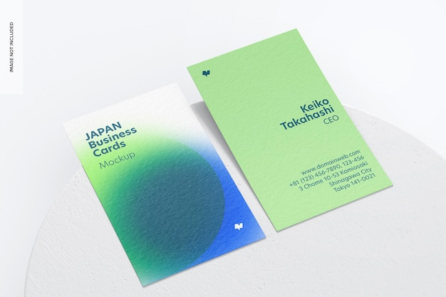 Maquete de cartões de visita verticais, vista em perspectiva