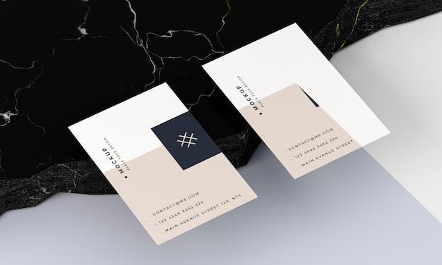Maquete de cartões de visita vista elevada