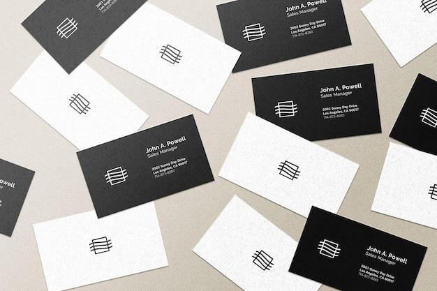 Maquete de cartões de visita voando