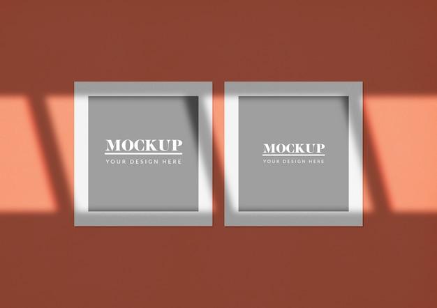 Maquete de cartões quadrados duplos com sombra elegante