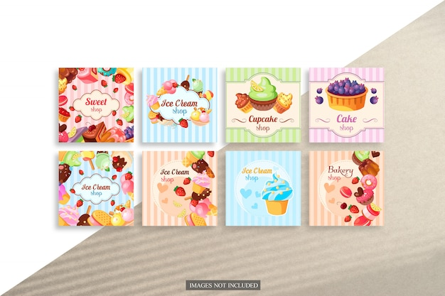 Maquete de cartões quadrados