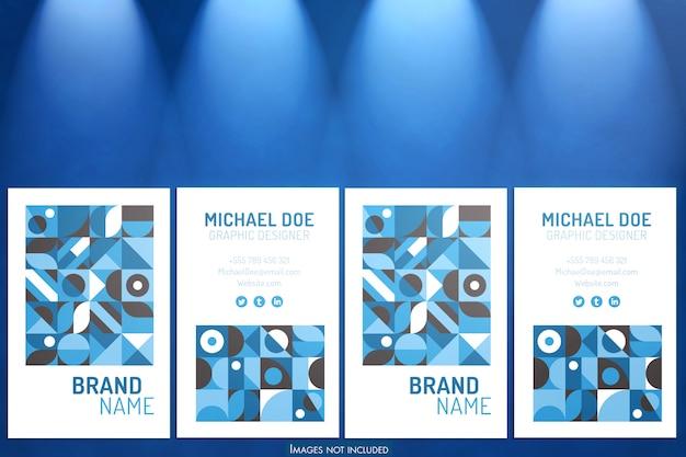 Maquete de cartões verticais com luzes azuis suaves no projetor