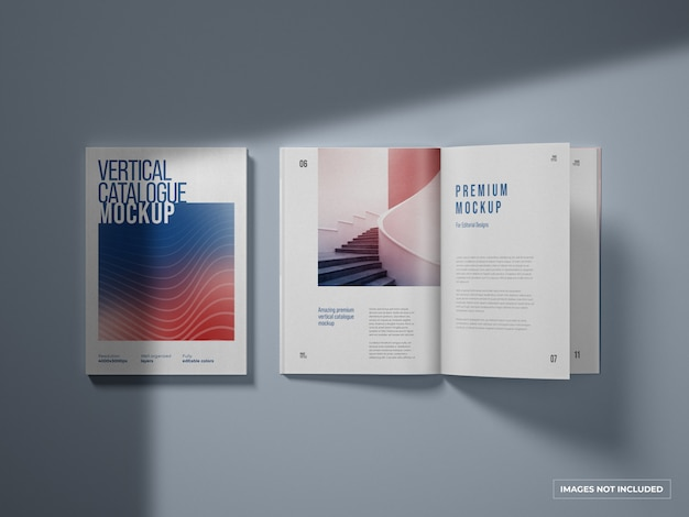 Maquete de catálogo vertical e revista
