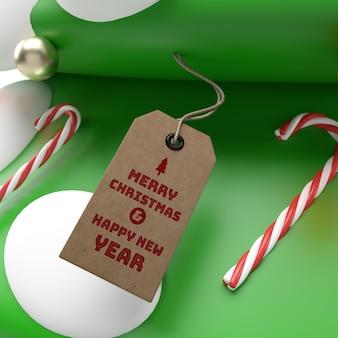 Maquete de celebração de tag de renderização 3d realista de natal 3d e ano novo