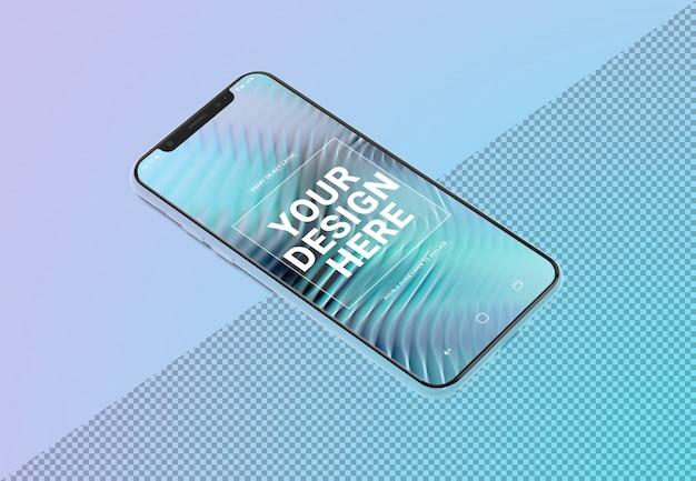 Maquete de celular deitado no gradiente