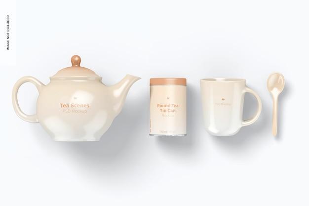 Maquete de cena de chá, vista superior