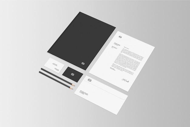 Maquete de cena de conjunto estacionário de negócios
