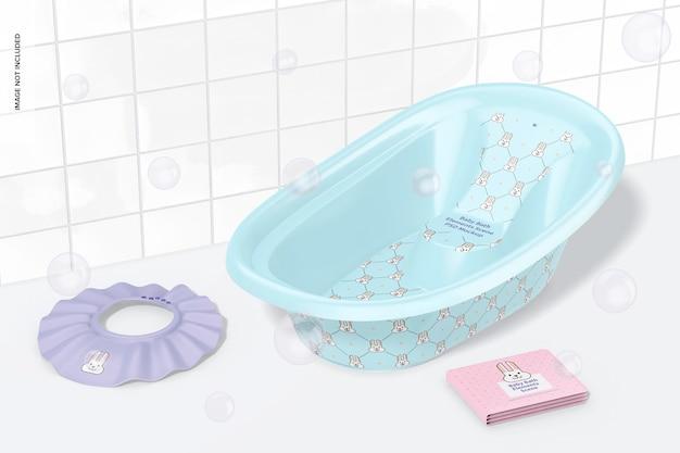Maquete de cena de elementos de banho de bebê, vista direita