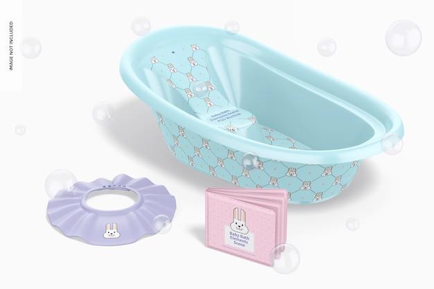 Maquete de cena de elementos de banho de bebê