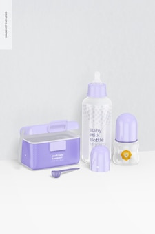 Maquete de cena de garrafas de leite para bebês, vista esquerda