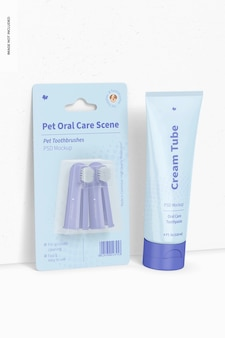 Maquete de cena de higiene bucal para animais de estimação, vista frontal