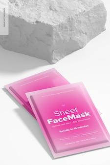 Maquete de cena de máscara facial de folha