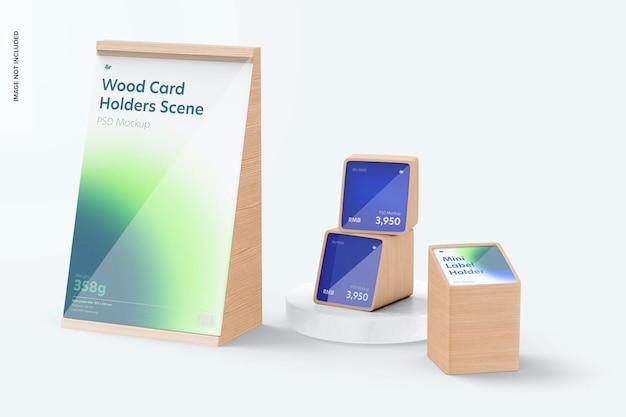 Maquete de cena de porta-cartas de madeira, empilhadas