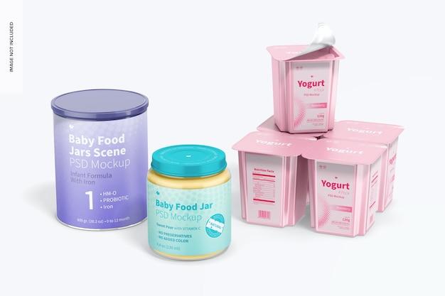 Maquete de cena de potes de comida para bebê, empilhadas