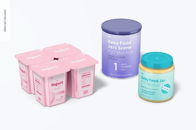 Maquete de cena de potes de comida para bebê, perspectiva