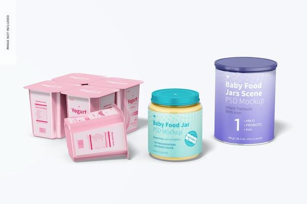 Maquete de cena de potes de comida para bebê