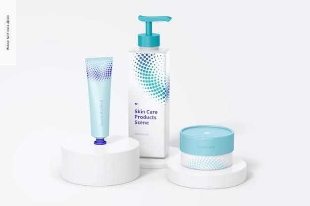 Maquete de cena de produtos para cuidados com a pele, parte frontal