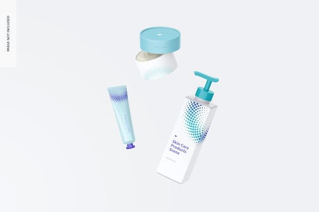 Maquete de cena de produtos para cuidados com a pele, queda