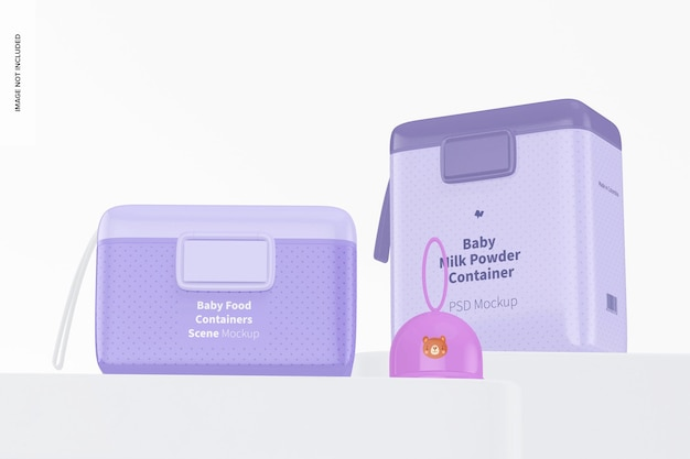 Maquete de cena de recipientes de comida para bebê, vista de baixo ângulo