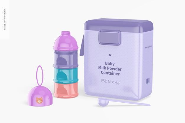 Maquete de cena de recipientes de comida para bebê, vista direita