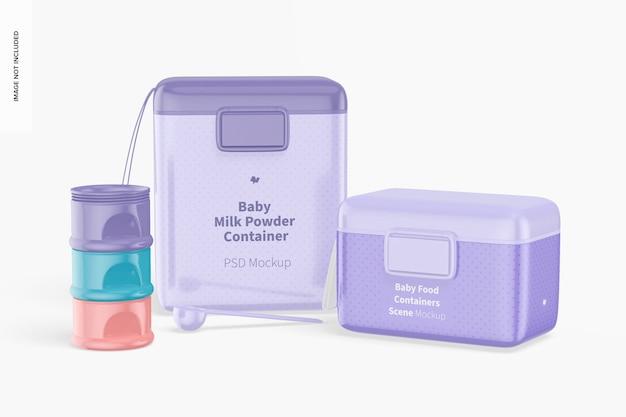 Maquete de cena de recipientes de comida para bebê, vista frontal