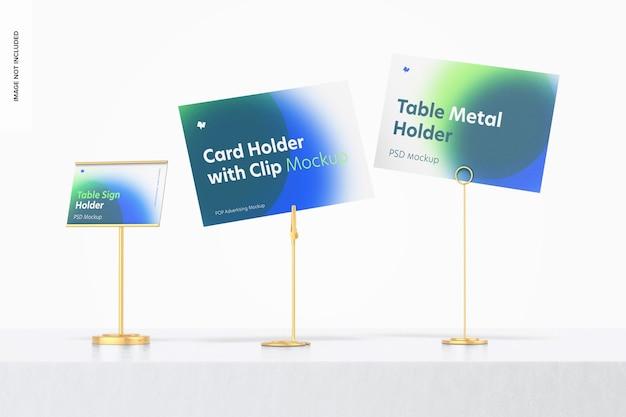 Maquete de cena de suporte de placa de metal para mesa, perspectiva
