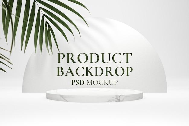 Maquete de cenário de produto estético psd com sombra de folha em estilo minimalista branco