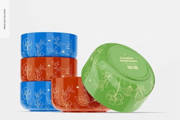 Maquete de cerâmica para pequenas tigelas, empilhadas