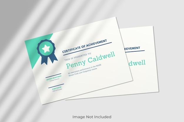 Maquete de certificado elegante com sombra