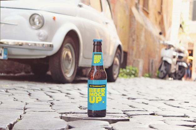 Maquete de cerveja de rua italiana