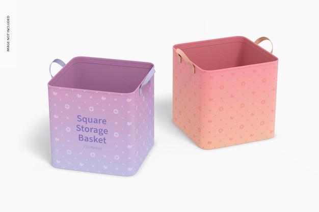 Maquete de cestas de armazenamento quadradas