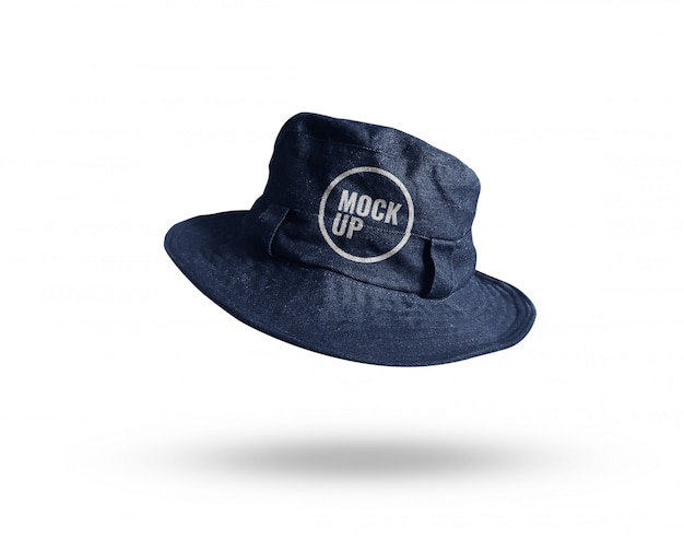 Maquete de chapéu de balde de brim azul realista