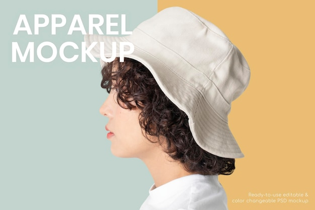Maquete de chapéu de balde psd mulher ensaio de estúdio de moda