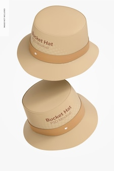 Maquete de chapéus de balde, caindo
