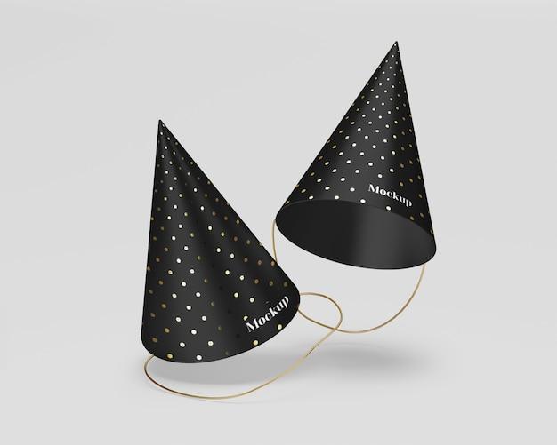 Maquete de chapéus de festa fosca com ouro