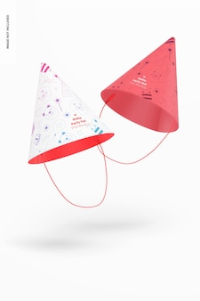 Maquete de chapéus de festa fosco, flutuante