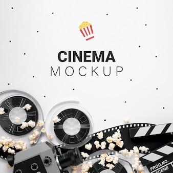Maquete de cinema vintage de vista superior