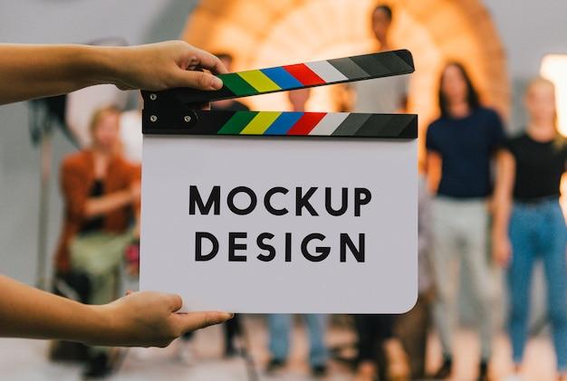 Maquete de claquete de produção de set de filmagem
