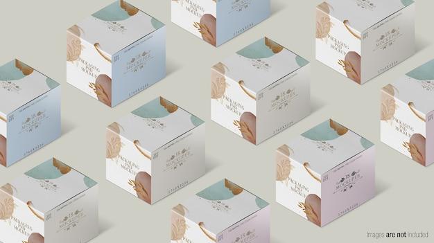 Maquete de coleção de caixa de embalagem isolada