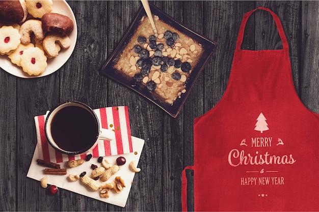 Maquete de comida de aventais e natal