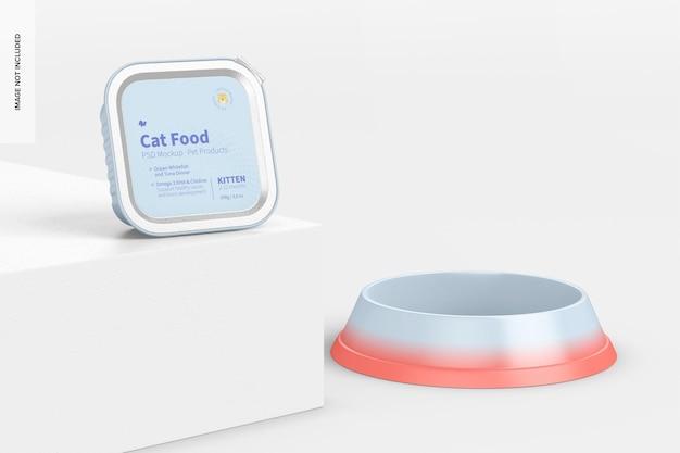 Maquete de comida de gato, visão em perspectiva