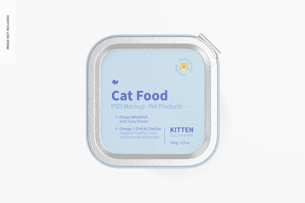 Maquete de comida de gato, vista superior