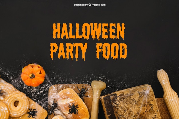 Maquete de comida do partido de halloween