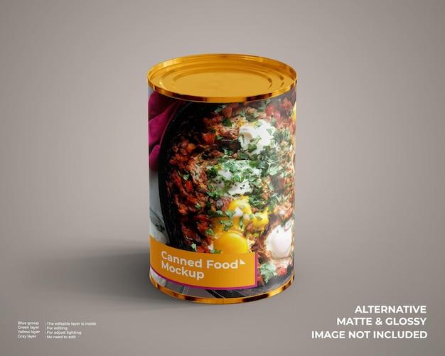 Maquete de comida enlatada parece vista frontal superior