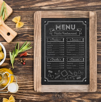 Maquete de comida italiana de vista superior