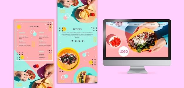 Maquete de comida mexicana colorida