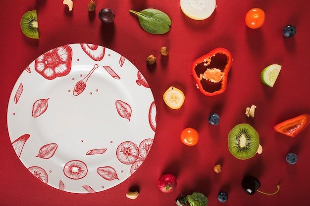 Maquete de comida saudável com placa